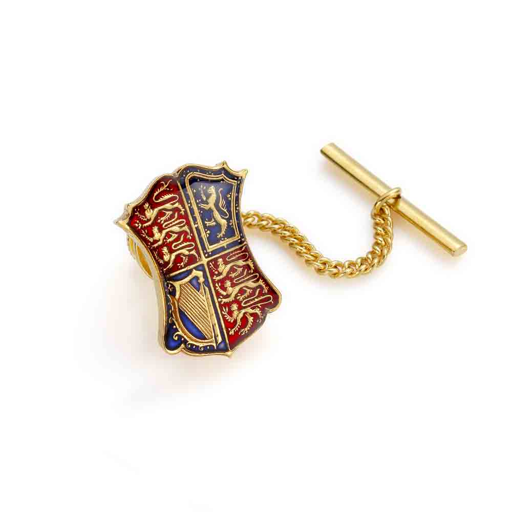 enamelled coin tie pin